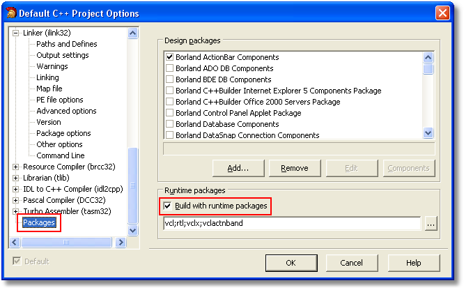 Use Packages setting in C++Builder™ 2006
